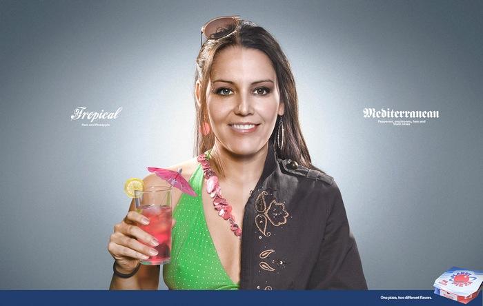 *Тропическая* + *Средиземноморская*: оригинальная реклама пиццерии