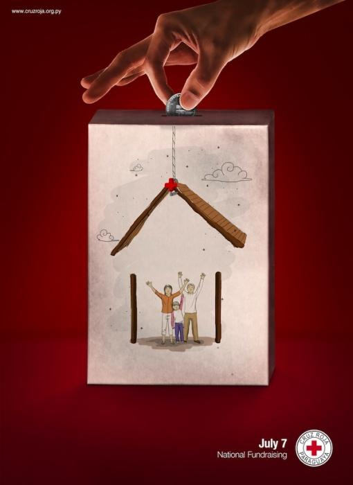 Под крышей дома твоего: креативные плакаты для общества Красного Креста