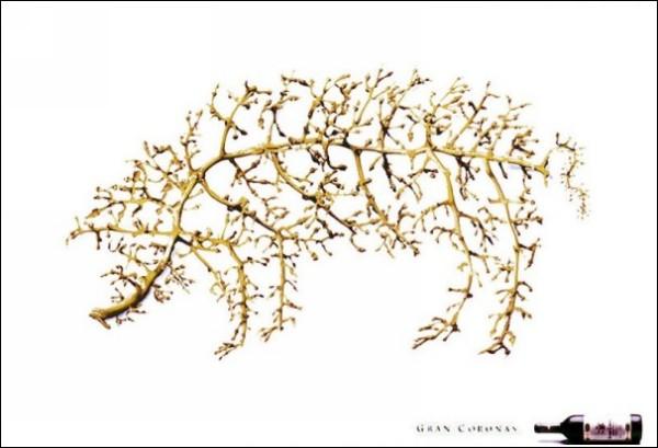 Забавная реклама вина: виноградный скелет свиньи