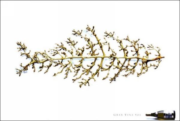 Забавная реклама вина: в рыбе много костей, и все виноградные
