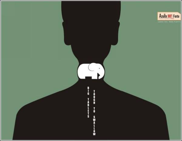 Минималистичная реклама лекарства: слон - животное полезное