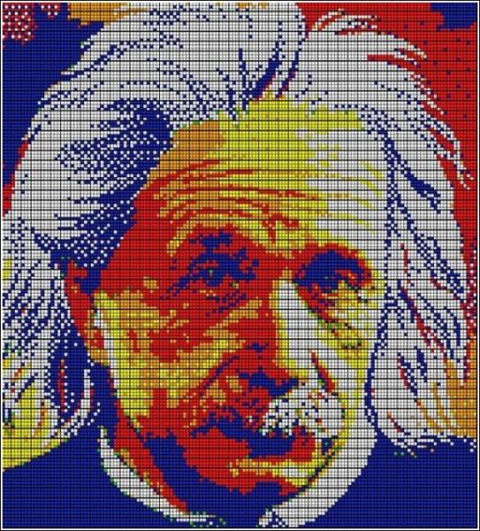 Мозаика из кубиков Рубика: портрет Альберта Эйнштейна