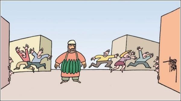 Зарубежные карикатуристы об испанских огурцах: смертник в пупырышках
