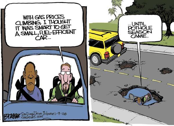 Рост цен на бензин в зарубежной карикатуре: опасность экономии
