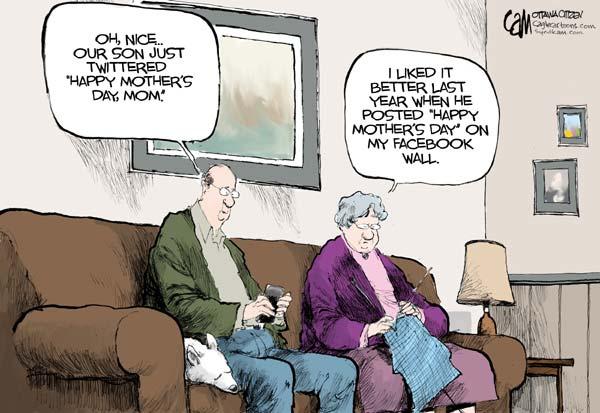 Карикатуры на тему Дня матери: «Фейсбук» рулит