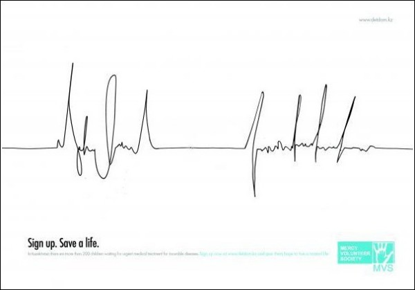 Минималистичная реклама: плакаты «Поставь подпись. Спаси жизнь»
