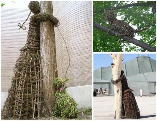 «Обними дерево»: парковая скульптура из прутьев и веток
