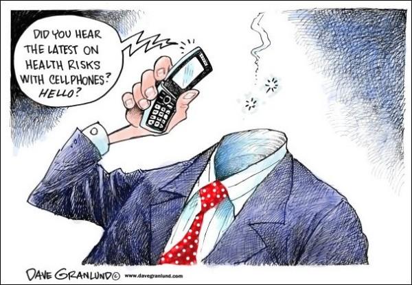 Художники-карикатуристы о вреде мобильных телефонов: *Слышал последние новости о вреде мобильников? Алло!*