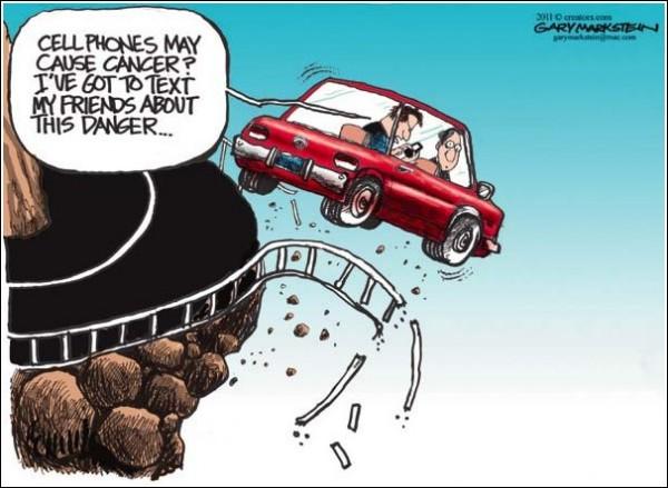 Художники-карикатуристы о вреде мобильных телефонов: SMS или SOS?