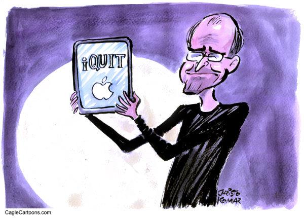 «iQuit» («я ухожу»): художники-карикатуристы об отставке Стива Джобса
