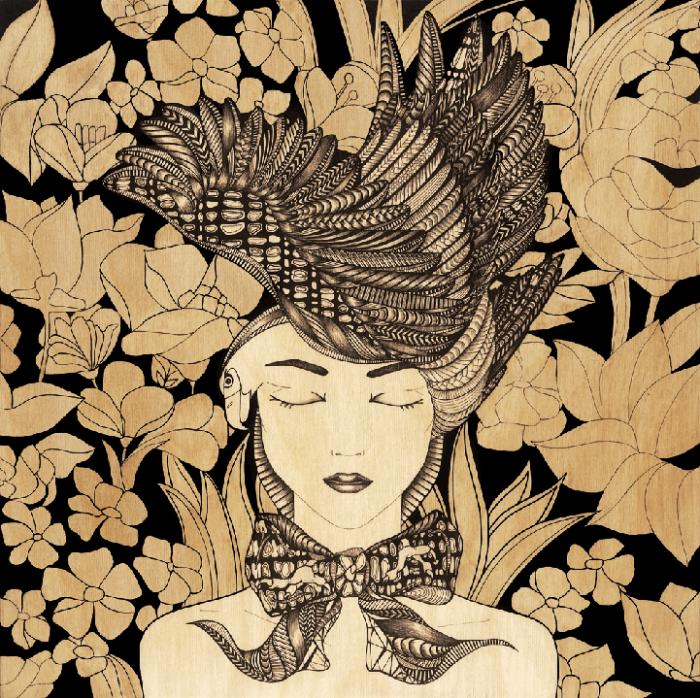 Портрет на фоне деревянных цветов: гравюры Цил Лоуренс