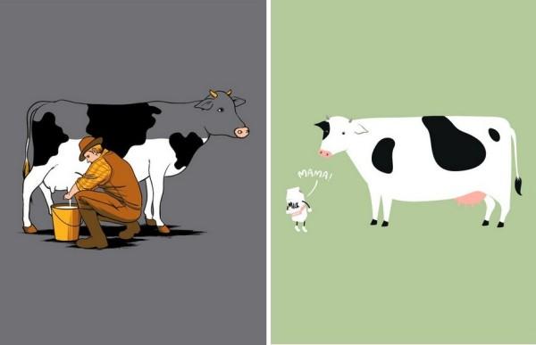 Искусство футболочного принта: дает корова молоко