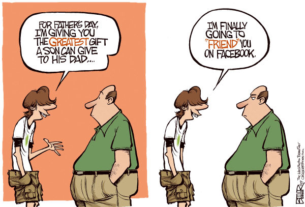 Карикатуры на тему Дня отца: друзья навсегда. Теперь и в *Фейсбуке*