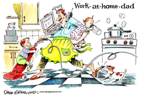 Карикатуры на тему Дня отца: папа, который работает дома