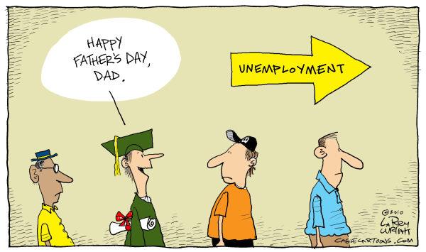 Карикатуры на тему Дня отца: встреча на бирже труда
