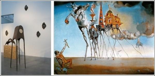 Часы на тонких ножках - дань уважения Сальвадору Дали (справа - «Искушение святого Антония»)