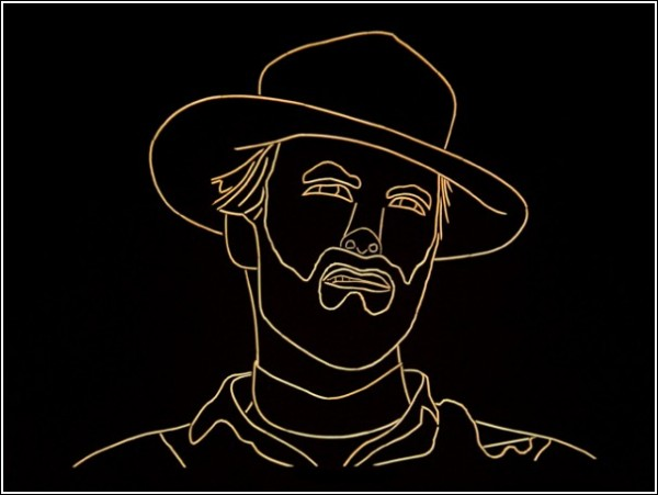 Портрет Клинта Иствуда из зубочисток