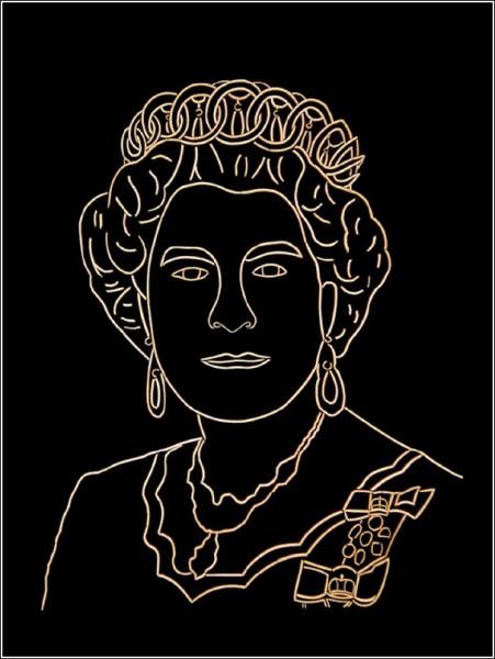 Портрет Елизаветы II из зубочисток