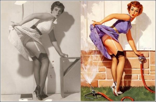 Пинап-герл Джила Элвгрена - веселая или удивленная красавица со стройной фигурой и волнистыми волосами