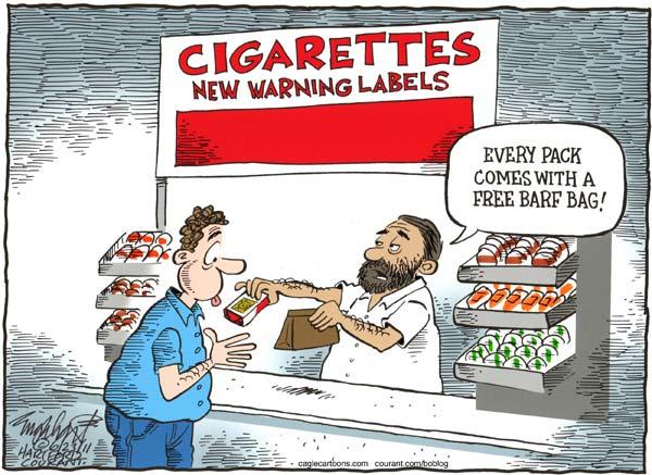 Художники-карикатуристы о картинках на упаковках сигарет: пачка-блевачка