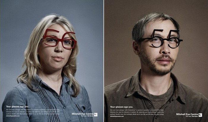 Очки, которые старят: оригинальная реклама контактных линз