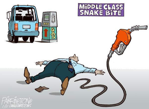 Рост цен на бензин в зарубежной карикатуре: укус горючей змеи