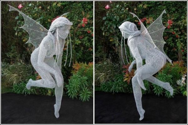 Cовременная скульптура из проволоки: настоящая фея