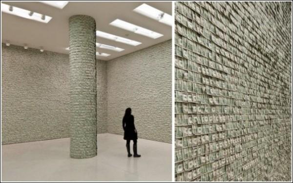 Необычные «обои» из долларов: инсталляция Ганса-Петера Фельдманна