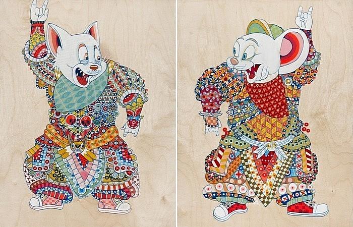 Мультяшные персонажи в облике самураев: Том и Джерри