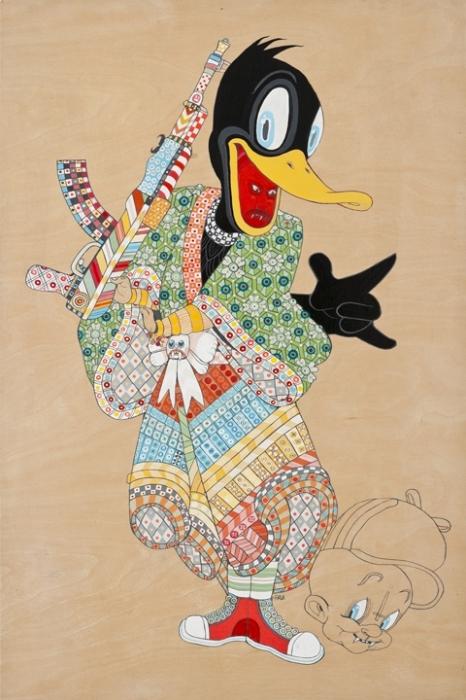 Мультяшные персонажи в облике самураев: Даффи Дак