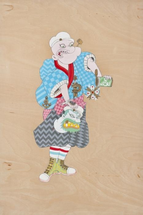 Мультяшные персонажи в облике самураев: моряк Попай