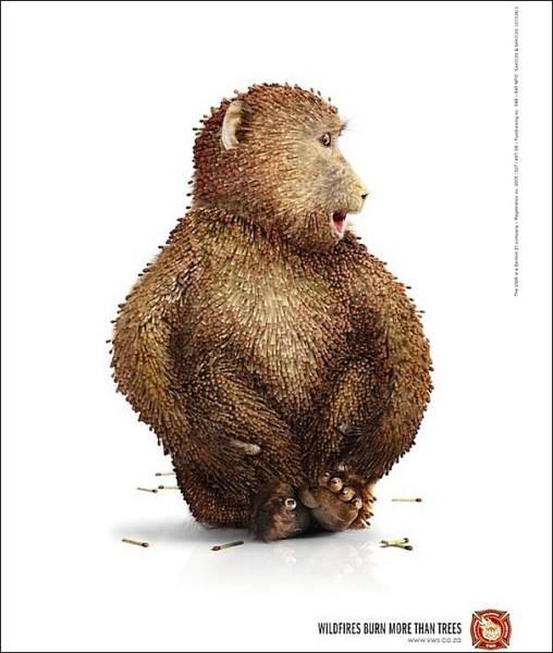 Оригинальные противопожарные плакаты: огненная обезьяна
