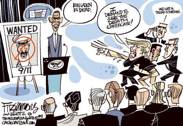 Обама: *Бин Ладен мертв*. Трамп: *Я хочу видеть его свидетельство о смерти!* Охрана: *У нас опять проблемы с Трампом*