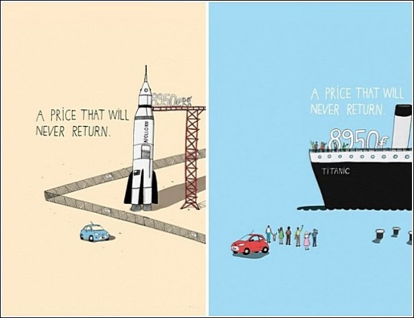 Рисованная реклама «Форда», который выгоднее «Титаника»