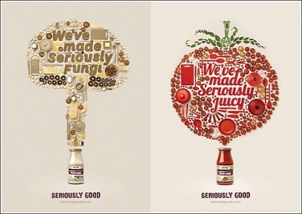 Грибы и помидоры из кухонной утвари: оригинальная реклама соусов