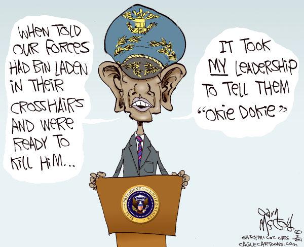 Политические карикатуры на смерть террориста №1: ведущая роль Обамы в операции