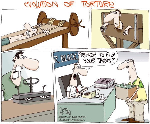 *Налоговые* работы американских карикатуристов: эволюция пыток