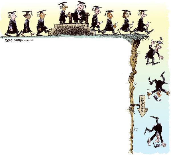 Карикатуры на тему безработицы: получение диплома - первый шаг к пропасти