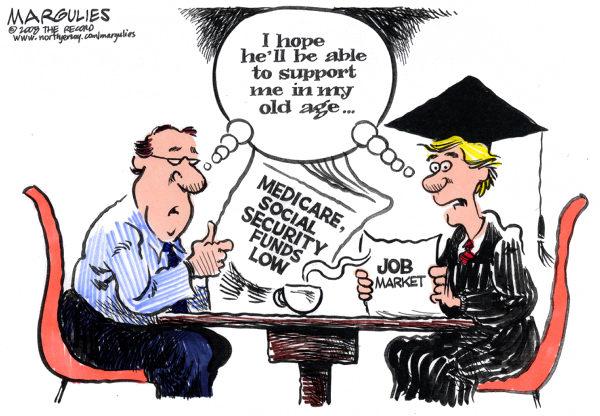 Карикатуры на тему безработицы: *Надеюсь, он сможет помогать мне в старости*