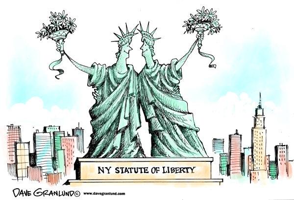 Художники-карикатуристы о легализации однополых браков: статуи Свободы