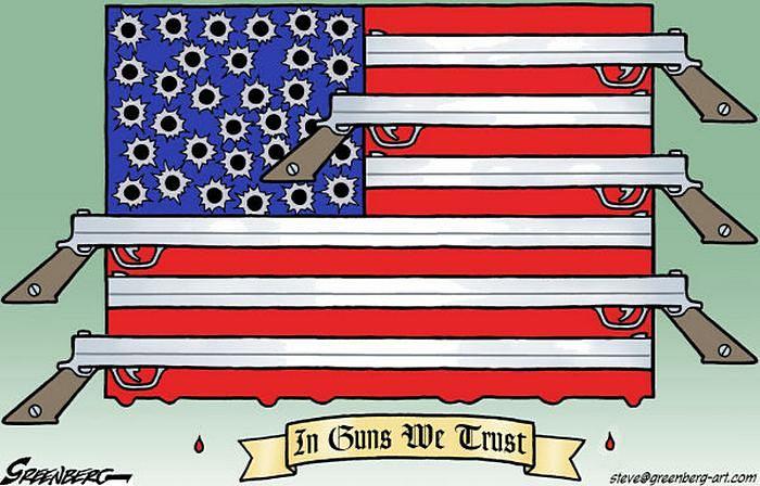 In Guns We Trust: американские карикатуристы об огнестрельном оружии