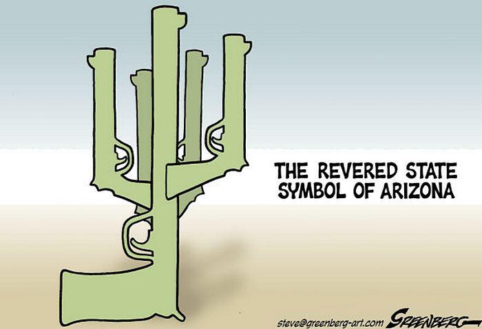 Огнестрельный кактус: американские карикатуристы об оружии
