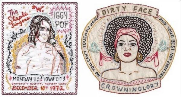 Среди работ Дженни Харт есть и вышивки-постеры