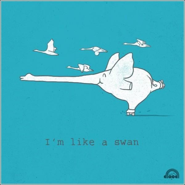 Веселые рисунки Хенга Суи Лима: *Я - как лебедь!*