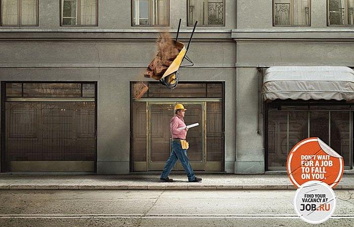 Как кирпич на голову: оригинальная реклама портала вакансий