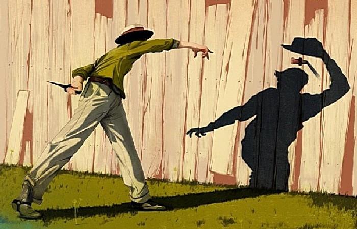 Бой с тенью: серия рисунков Джонатана Бартлета в стиле 50-х