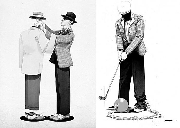 Гольф-клуб: серия рисунков Джонатана Бартлета в стиле 50-х