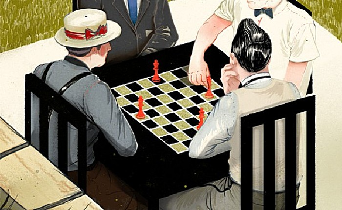 Шахматисты: серия рисунков Джонатана Бартлета в стиле 50-х