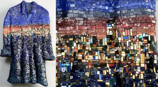 Искусство мозаики Джули Риччи: вечернее платье с вечерним городом