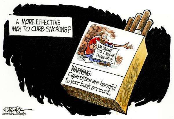 Более эффективный способ ограничить курение: *Внимание! Курение вредит вашему банковскому счету*